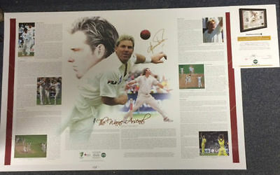 Shane Warne Australia Cricket Hand Signed Arsenal King Of Spin Official Print