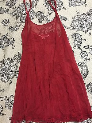 Victorias Secret Sheer Night Gown Lace Teddy Red Lingerie Slip M