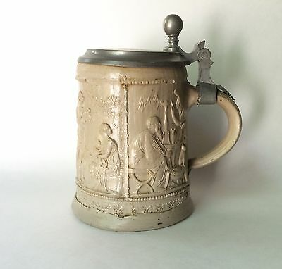 Antique Beer Stein After Bertel Thorvaldsen's Four Seasons, 1/2 L 19th C. German