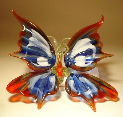 Blown Glass Art Figurine Hanging Red, Blue and White BUTTERFLY Ornament