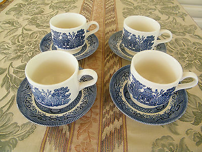 Churchill Blue  Willow Cups & Saucers  X 4