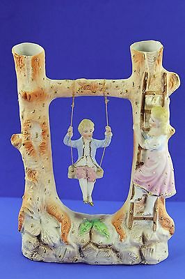Rare Antique Porcelain Swinger Doll And Tree Figurine With Gold Gilt