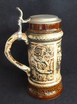 Tall Pottery Beer Stein with Pewter Lid Erbo Zinn Gerz W. Germany Brown