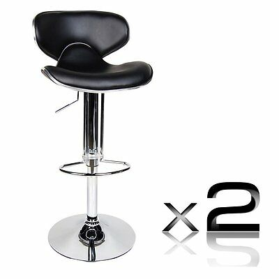 2pcs Modern PU Leather Stainless Steel Height Adjustable Kitchen Bar Stool NEW