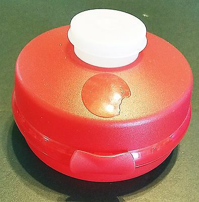 Tupperware Round Bagel - Sandwich Keeper Red w/ Schmear, Condiment Cup on top