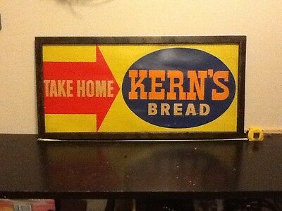 """Vintage Country Store Find Kern's Bread Framed Sign 42"""" X 20"""""""
