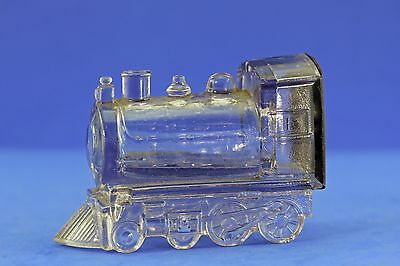 Vintage Glass Locomotive Candy Container With Tin Lithograph Closure