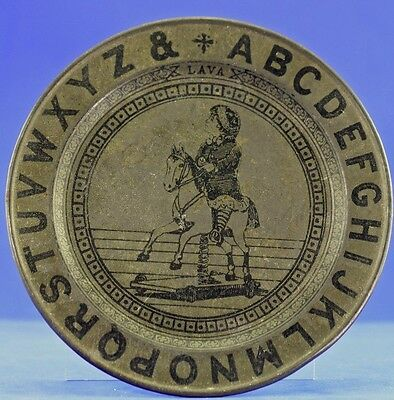 Antique Metal Child's Abc Plate With Boy On Spring Rocking Horse