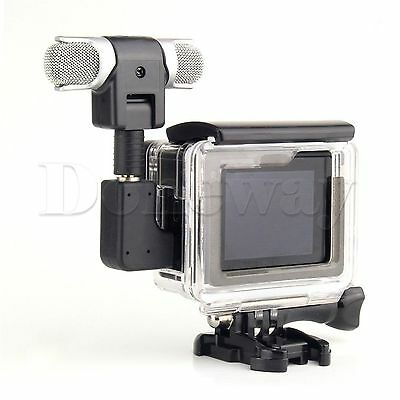 Side Open Skeleton Camera Housing Case  +Microphone Adapter for GoPro Hero 3+/4