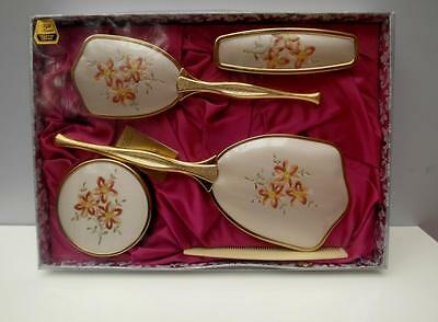 VINTAGE Antique GOLD Plate DRESSING Table BRUSH & Mirror SET Fifth AVENUE Unused