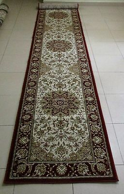 New Extra Long Cream Persian Design High Quality Floor Hall Runner Rug 80X400Cm