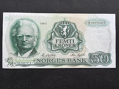 Norway 50 Kroner P37 Signed Wold & Sagard Dated 1983 VF+