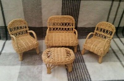 Vintage Wicker Doll Furniture Set - Barbie Size