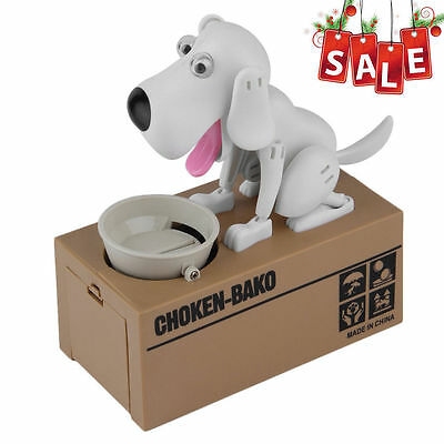 NEW Puppy Hungry Eating Dog Coin Bank Money Saving Box Piggy Bank Kid Gift WHITE