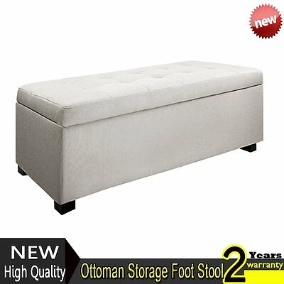 Blanket Box Ottoman Storage Linen Fabric Foot Stool Toy Chest Seat Bench Large