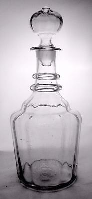 Large Two Ringed Late Georgian Tavern Decanter Hollow Stopper Snapped Pontil