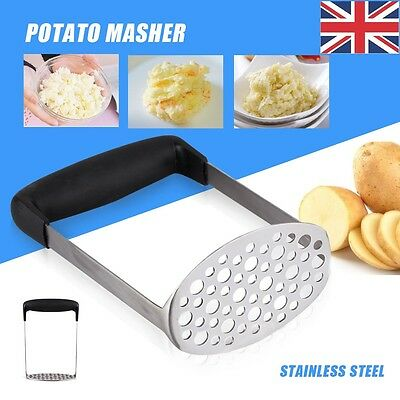 Wide Grip Metal Potato Masher Heavy Duty Stainless Steel Ricer Fruit Veg Puree