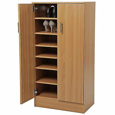 Shoe Cabinet Wooden Rack Cupboard 7 Shelves for 30 Pairs of SHOES Storage Beech