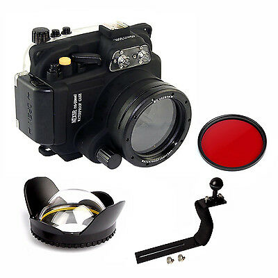 Underwater Housing Diving Case For Sony NEX-5R 16-50mm Red filter Arm Wide Angel