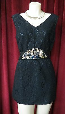 70's Black Lace  Disco Dance Anthan Top