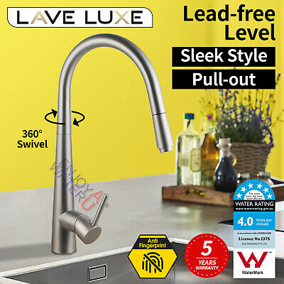 Modern Pull Out Spray Faucet Mixer Tap Brushed Brass Kitchen Sink Basin Laundry