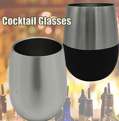 Retro Stainless Steel Stemless Wine Glass Cocktail Glasses 9~13OZ Cup for Drinks