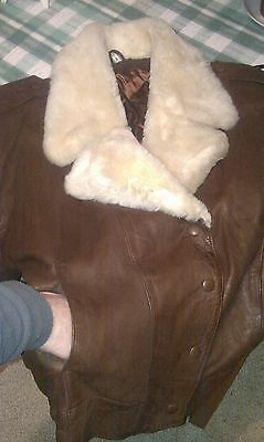 VINTAGE 90,S Ladies SOFT BROWN LEATHER BOMBER AVIATOR JACKET  14/16 large