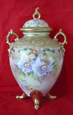 Antique Noritake Two Handled Gilded Jewelled Handpainted Floral Lidded Vase Urn