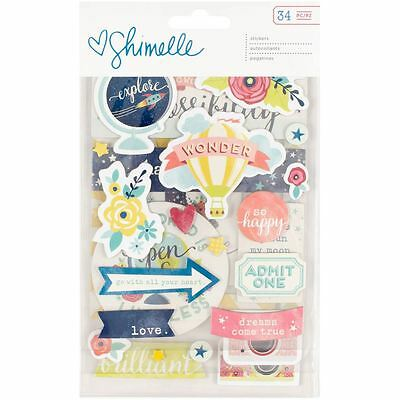 Shimelle Starshine Chipboard Stickers 34 Pieces Papercraft Cardmaking Decoration