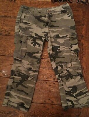 Girls Combat Camouflage Trousers Cropped - Age 14 (164cm