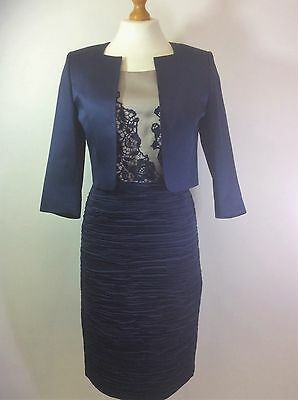 Izabella 2359 1013 Navy & Taupe Overlaid Lace Top Mother Of Bride Wedding Outfit