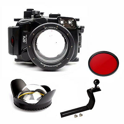 Underwater Housing Diving Case For Canon G7X Red filter Arm Wide Angel Dome