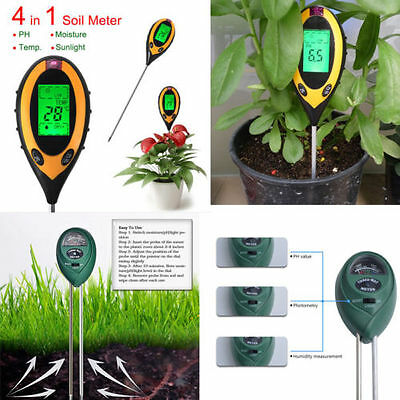 Digital 4in1/3in1 pH Meter Soil Plant Moisture Thermometer Light Measure Humidit