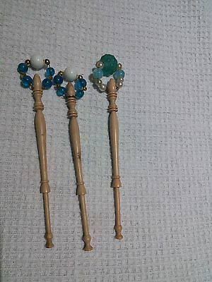 Three Wood Lace Bobbins With Spangles
