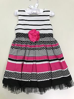 Sweet Heart Rose Toddler Girls White, Black And Pink Party Dress Size 2