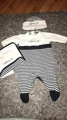 Armani Baby Grow Bib And Hat Up To 1 Month