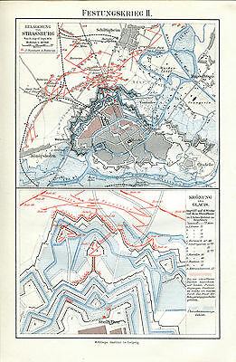 ca 1890 STRASBOURG  FORTIFICATION GLACIS SIEGE Antique Map