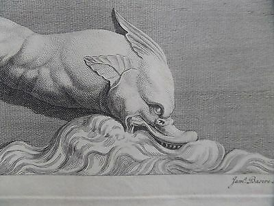 18th Century Engraving RARE Antiquities of Athens Mythical Beast James Basire