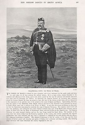 1900 Antique Print-Boer War- Field-Marshal Hrh The Prince Of Wales