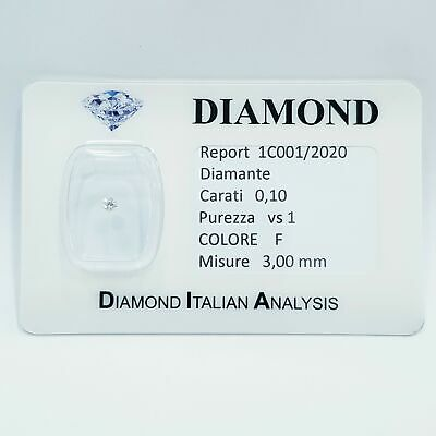 DIAMANTE 0.10 CARATI VS1  F COLOR 3.00 mm LOTTO