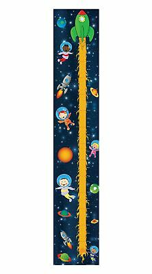Space Astronaut Planet Stars Galaxy Rocket Tall Canvas Height Chart Hc005