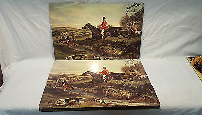 Lot of 6 Corkboard Art Hunting Scene Dogs & Horses Placemats