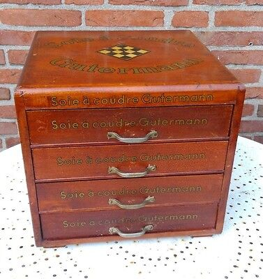 Antique wooden 4 drawer french silk spool thread cabinet,Gutermann,store counter