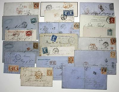 France earlier Entires, Covers etc. inc Ceres imperf, Napoleon. 18 used items