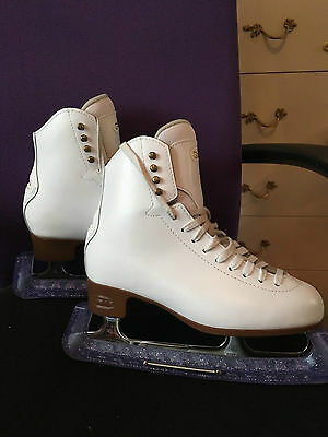GRAF 500 White Leather Figure Ice Skates Size 5 (38) - Very Good Condition