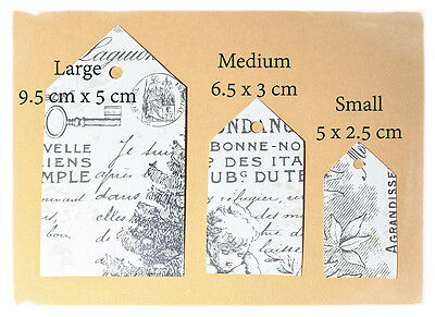 15 diecut labels 5 x Large 5 x Medium 5 x Small many colours patterns gift tags