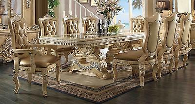 Homey Design HD-7266 Traditional Golden Khaki Bonded Leather Dining Set 9Pcs