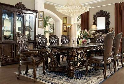 Homey Design HD-8006  Victorian Dark Brown Carved Wood Dining Room Set 9Pcs