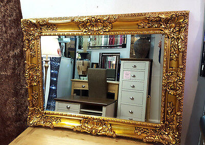Antique Gold Ornate Vintage French Beveled Wall Mirror 115x85cm New