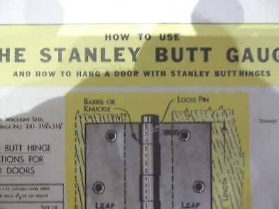 Stanley Tools How to use the #95 Butt Gauge instruction sheet. NR ! FREE S&H !